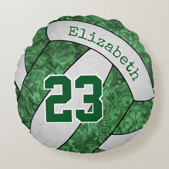 green white custom girls' volleyball team colors round pillow