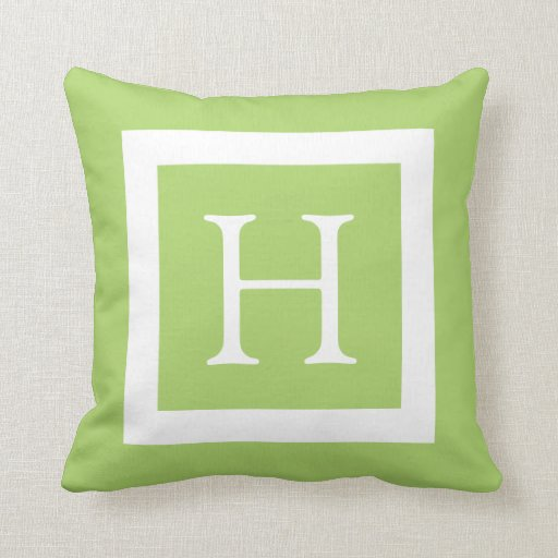 Green White Custom Monogram Throw Pillows