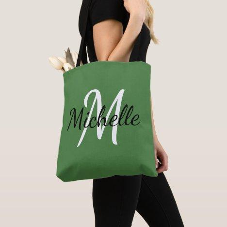 Green & White Custom Monogram Tote Bag