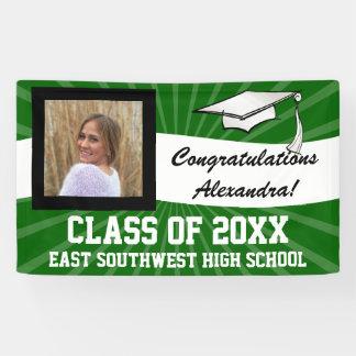 Green White Custom Photo Graduation Sign Banner