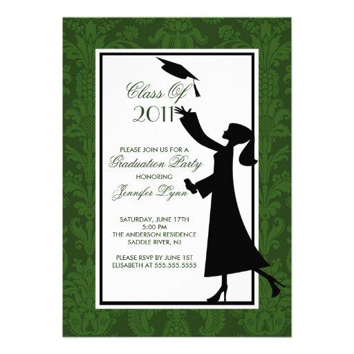 Green & White Damask Graduation Invitation Grad