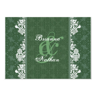 Green & White Damask Wedding Invitation