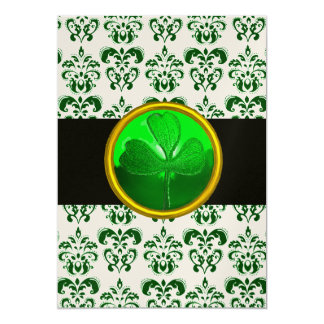 GREEN WHITE DAMASK WITH SHAMROCK Black Champagne 5x7 Paper Invitation Card
