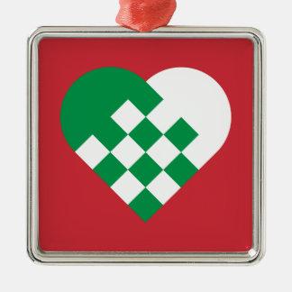 Green White Danish Heart Christmas Tree Ornaments