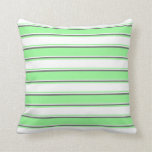 [ Thumbnail: Green, White & Dim Gray Colored Stripes Pattern Throw Pillow ]