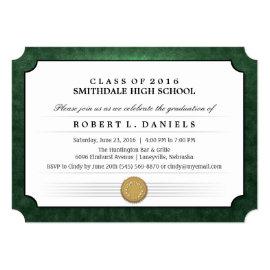 Green & White Diploma Graduation Party Invitation