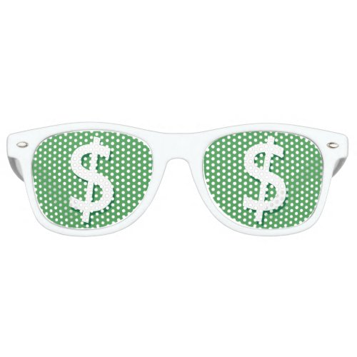 Green  White Dollar Sign Party Shades
