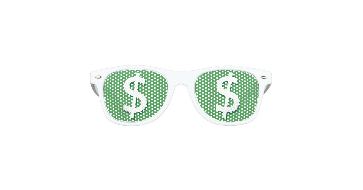 c74a44fe5ebd Green   White Dollar Sign Party Shades
