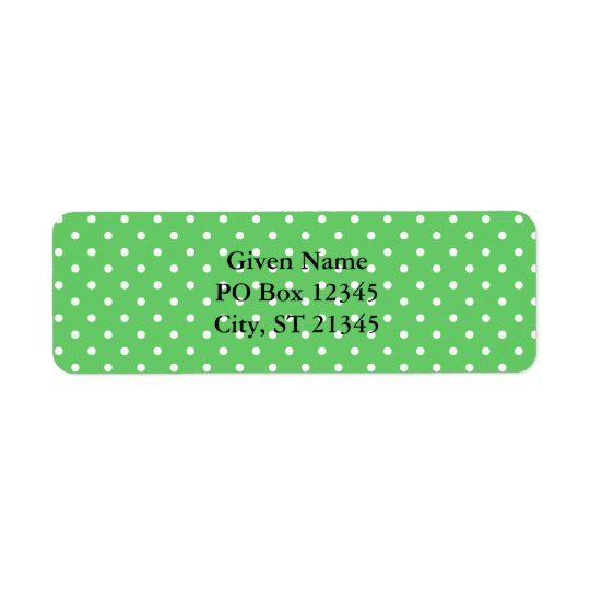 Green & White Dots Label