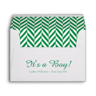 Green White Due Date Baby Shower Envelopes