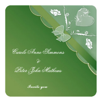 Green & White Elegant Lace Wedding Invitation Card