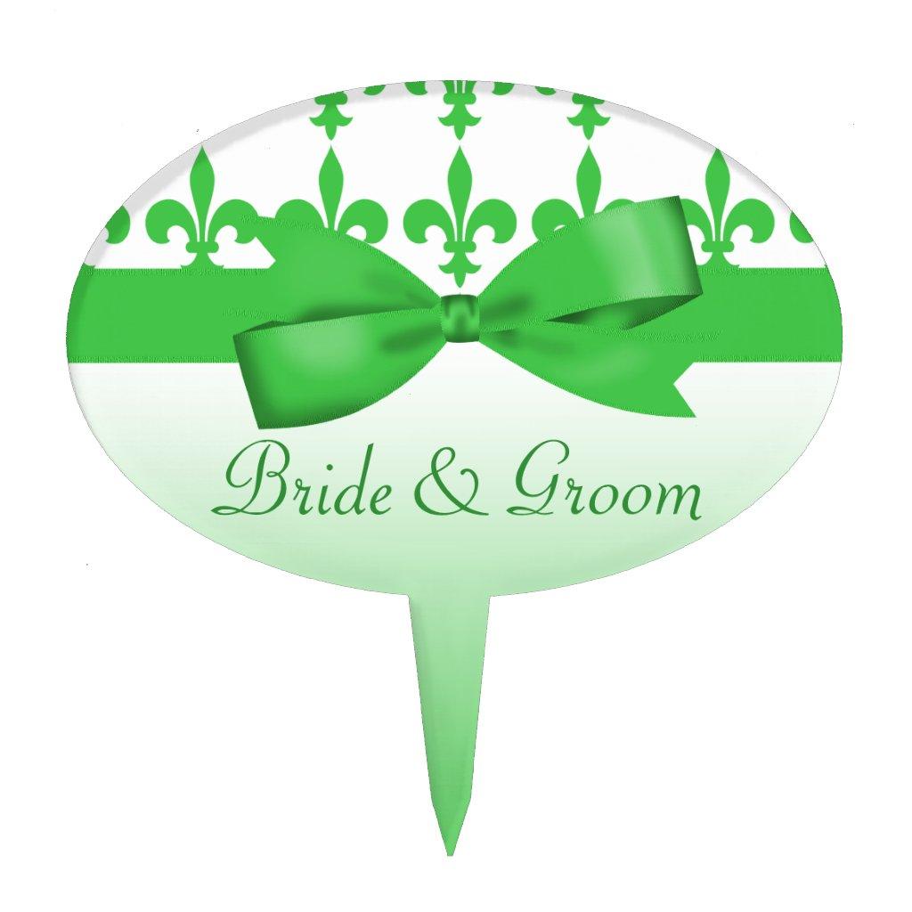 Green & White Fleur De Lis Wedding Cake Picks