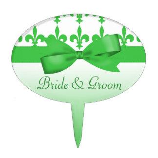 Green & White Fleur De Lis Wedding Cake Topper