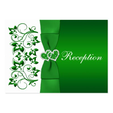 Green, White Floral, Hearts Wedding Reception Card Large Business Card