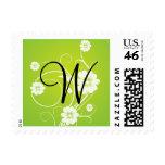 Green White Floral Monogram W Wedding Stamps
