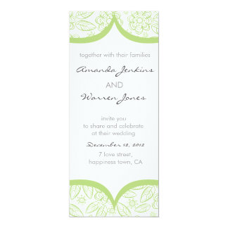 green & white floral pattern invite