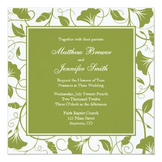 Green & White Floral Square Wedding Invitation