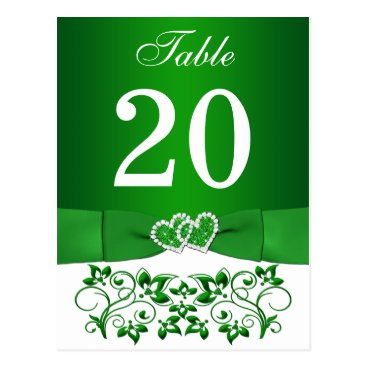 Wedding Themed Green, White Floral Table Number Card