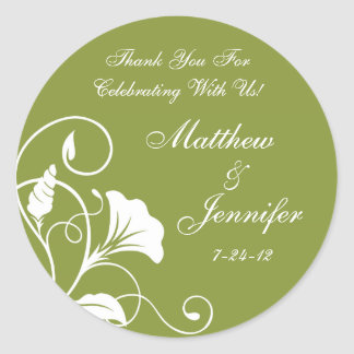 Green & White Floral Thank You Wedding Favor Label