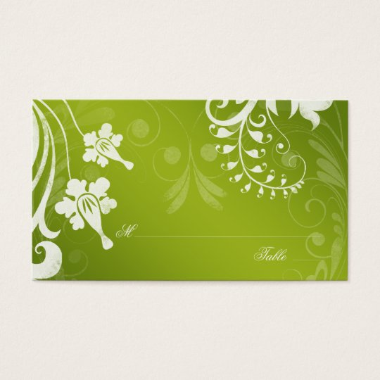 Green White Floral Wedding Place or Escort Cards