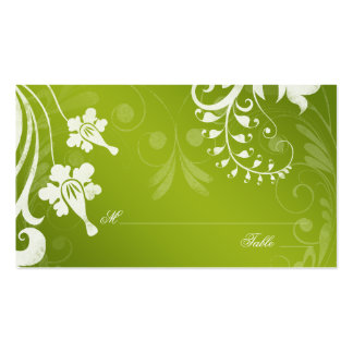 Green White Floral Wedding Place or Escort Cards Business Card Template