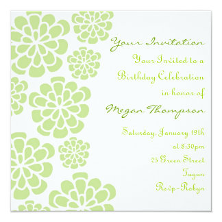 Green & White Flower Birthday Invitation