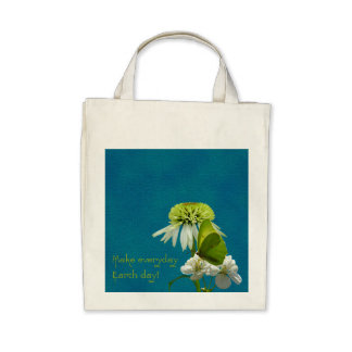 Green & White Flower Bouquet Earth Day Bags