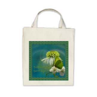Green & White Flower Bouquet Earth Day Bag