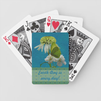 Green & White Flower Bouquet Earth Day Bicycle Playing Cards