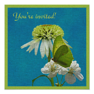 Green & White Flower Bouquet Earth Day Personalized Invite