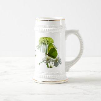 Green & White Flower Bouquet Earth Day 18 Oz Beer Stein