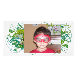 Green & White Flower Bouquet Earth Day Customized Photo Card