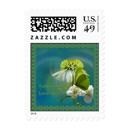 Green & White Flower Bouquet Earth Day Postage