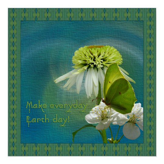 Green & White Flower Bouquet Earth Day Poster