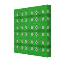 green white flower pattern canvas print