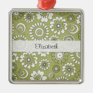 Green White Flower Power Stitched Vellum Metal Ornament