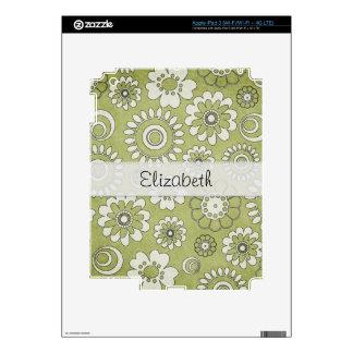 Green White Flower Power Stitched Vellum iPad 3 Decals
