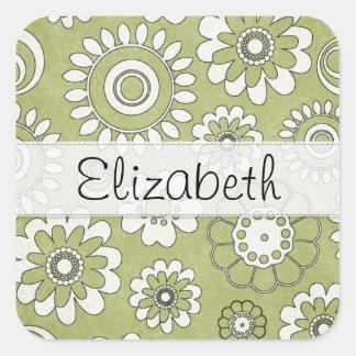 Green White Flower Power Stitched Vellum Sticker