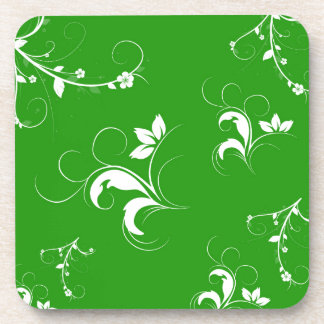 Green white flowers and leaves drink coaster