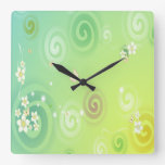 Green, White Flowers, White Butterflies Wall Clock