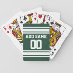 "Green White Football Jersey Custom Name Number Playing Cards<br><div class=""desc"">Add your favorite name and number -- This sports design is perfect for any professional,  college or high school fan. You can even claim these for your Fantasy Football team. Click on the CUSTOMIZE button to make even more changes.</div>"