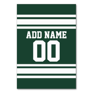 Green White Football Jersey Custom Name Number Table Cards