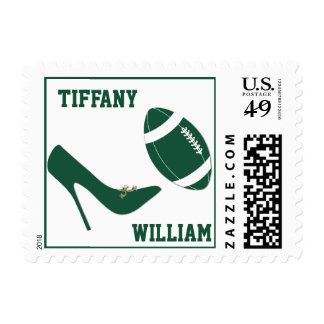 Green & White Football Themed Stamps