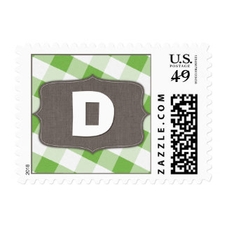 Green & White Gingham Canvas Monogram Postage