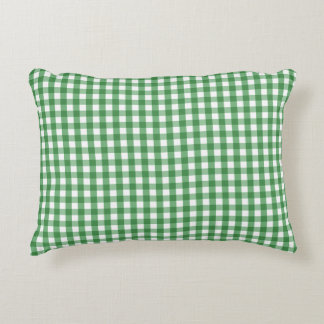 Green White Gingham Check Pattern Accent Pillow