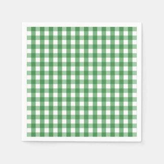 Green White Gingham Check Pattern Paper Napkin