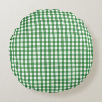 Green White Gingham Check Pattern Round Pillow