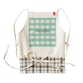 green,white,gingham,gold,polka dot,trendy,girly,ch zazzle HEART apron
