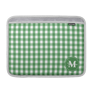 Green White Gingham Pattern Custom Monogram MacBook Air Sleeve