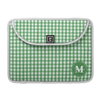 Green White Gingham Pattern Custom Monogram MacBook Pro Sleeve
